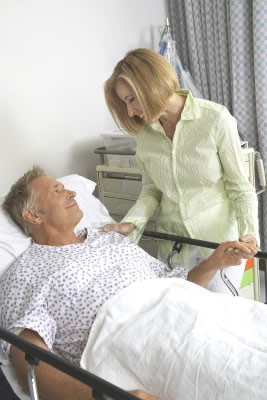 Woman Visiting Man in Hospital - FMLA